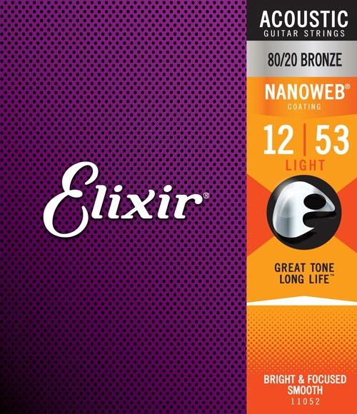 "Elixir Acoustic 80/20 Bronze / Nanoweb Coating (11"",12""13"")"