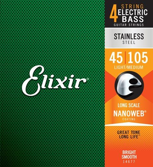 "Elixir Stainless Steel Bass Strings with Nanoweb Coating (40"", 45"")"